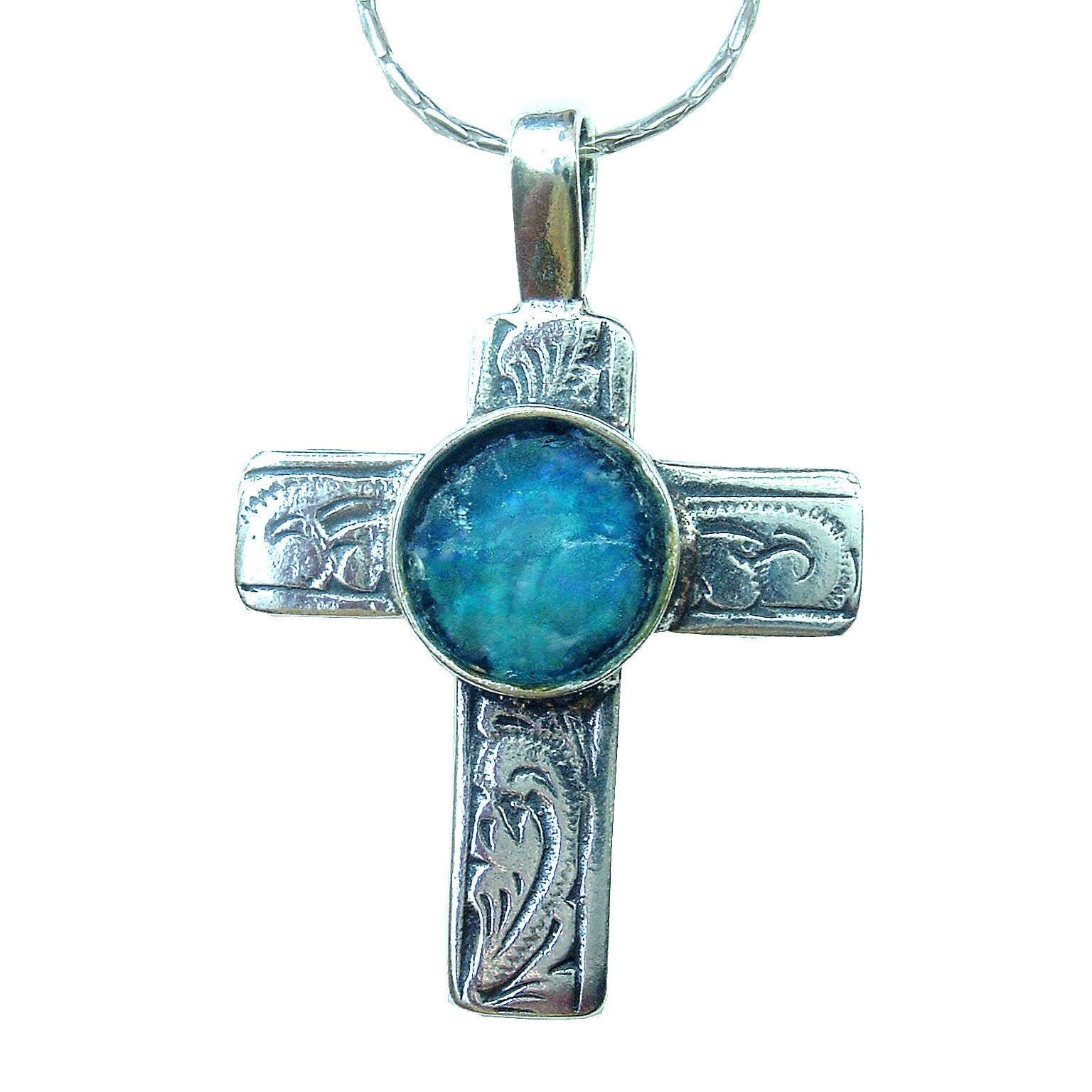 Silver and Blue Floral Cross Necklace