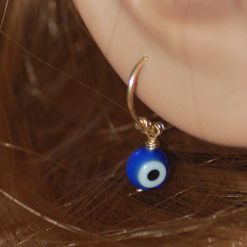 helix hoop cartilage hoop Small gold hoop Tiny evil eye earrings gold piercing small silver hoop evil eye jewelry