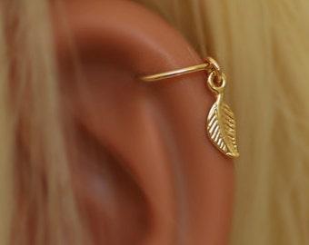 Cartilage earring, tiny leaf Cartliage, gold leaf earing, gold hoop earring, silver Cartliage hoop piercing, leaf hoop ring