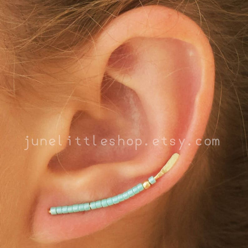 ear climber earclimbersTurquoise ear climber earrings gold image 0