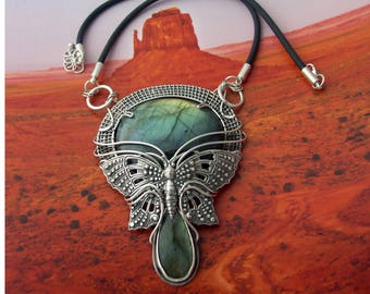 """Designer sterling silver necklace pendant """"Cthulhu"""" with labradorite wire wrap"""