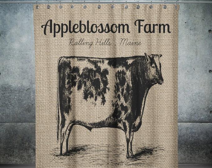 Shower Curtain, Personalized Farm, Primitive  Cow , Farmhouse Chic , Fake Burlap ,    Optional Bath Mat Set