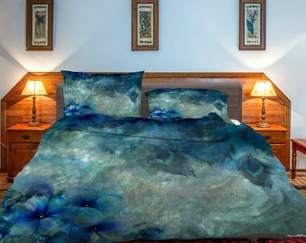 Misty Peacock Feathers Floral  Bedding ,  Duvet Cover or  Comforter,  Twin  Full, Queen, King, Rug, Throw Pilllow Options