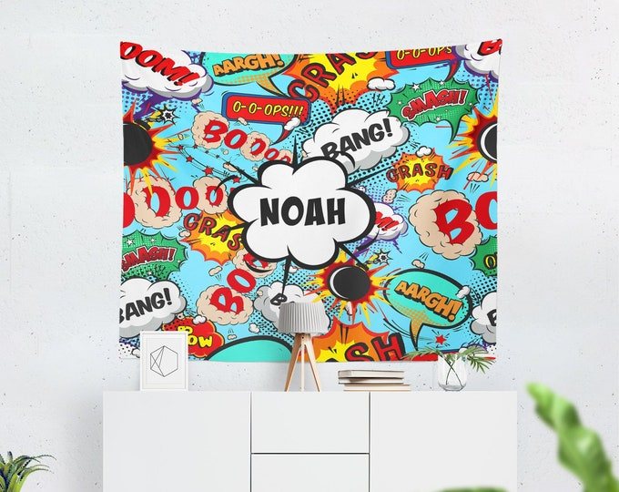 Wall Tapestry, Personalized Comic Book Design