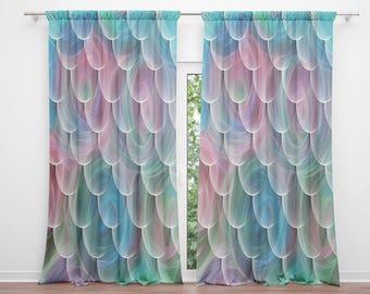 Mermaid Scales Window Curtains Pastel Swirl