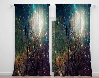 Gothic Sky , Crow and Moon Window Curtains