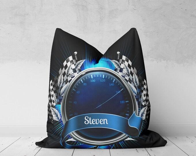 Throw Pillow, Race Car Pillow, Custom Monogram, Black Blue, Checkered Flag