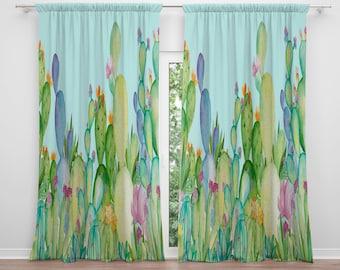 Cactus Window Curtains Valance Succulent Decor Watercolor Pastel Treatments Drapes