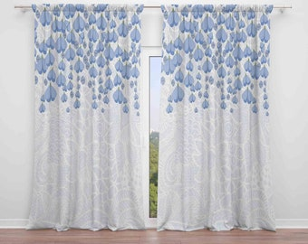 Boho Chic Window Curtains Blue And White Faux Lace Draping Flower Vines Valance Custom