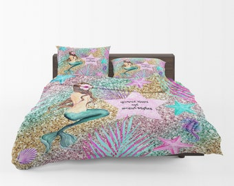 Pastel Mermaid Bedding, Comforter Set Or Duvet Cover Twin, Full, Queen,  King ,Mermaid Kisses And Starfish Wishes Watercolor