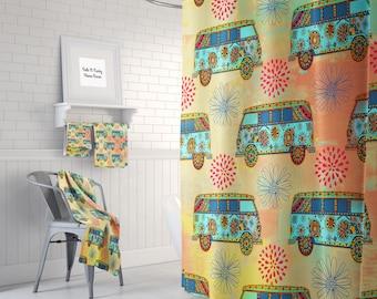 Hippie Boho Van Dusche Vorhang Optional Badematte Badezimmer Set