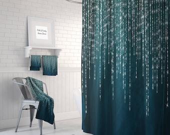 Boho Shower Curtain Optional Bath Mat Bathroom Dark Teal Lights And Lace