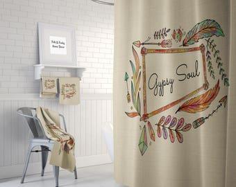 Boho Shower Curtain Optional Bath Towels Mat Bathroom Set