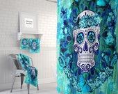 Sugar Skull Shower Curtain , Butterflies Teal Blue, Bath Mat, Towels