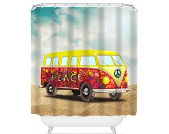 Dusche Vorhang Hippie Surfer Van Flower Power Design