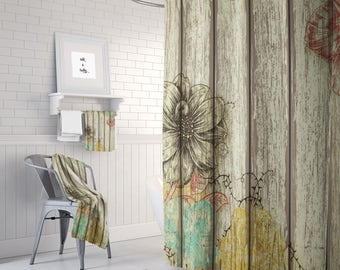 Shower Curtain Rustic Barn Wood Floral