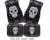 Car Mats Sugar Skull Black and White Full Set