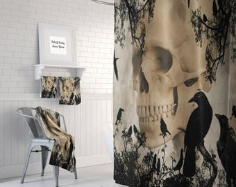 Gothic Skull And Crows Shower Curtain , Day Of The Dead , Bath Mat, Bath  Towels