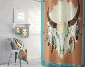 Boho Western Bull Skull Shower Curtain Optional Bath Towels Mat Bathroom Set