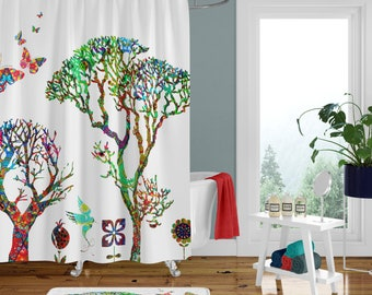 Shower Curtain Funky Forest Curtains Bath Mat Towels Hippie Tree