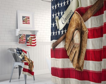 Custom Baseball Shower Curtain Bath Mat Towels Personalized Banner American Flag Vintage Americana Bathrooms