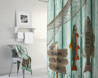 Shower Curtain Fishing Grunge Primitive Weathered Wood Lake House Cabin Rustic Lodge Optional Bath Mat Towels
