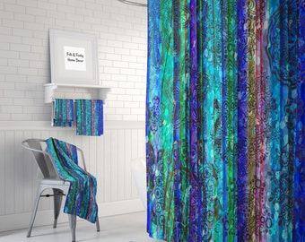 Boho Chic Shower Curtain Gypsy Blue Optional Bath Mat Towels Bathroom Set