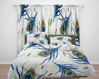 Bedding, Peacock Bedding, Peacock Comforter, Duvet Cover, Peacock Curtains,  Pillows, Rug, Peacock Decor, Peacock, Bedroom Decor