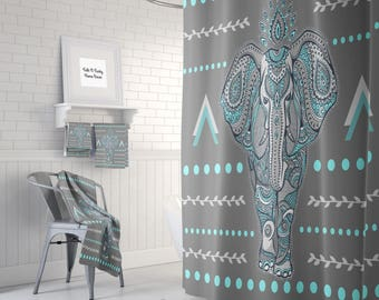 Delicieux Boho Elephant Shower Curtain Optional Bath, Bath Towels Mat Bathroom Set,  Gray , Turquoise