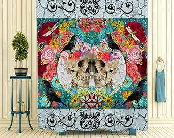 Sugar Skull Shower Curtain Day Of The Dead Crackled Floral Crows Skulls Antiquated Love