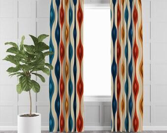 Mid-century Atomic Red by hot4tees/_bgyahoo/_com Mid-century Mod Curtain Panel Atomic Era Custom Curtain Panel by Spoonflower
