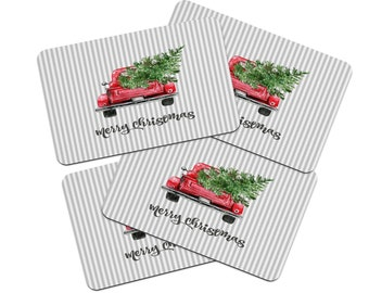 Vintage Red Truck Christmas Placemats.Red Truck Placemat Etsy