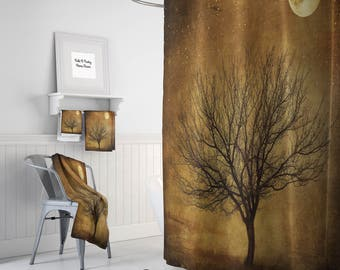 Shower Curtain Rustic Primitive Grunge Tree And Moon Optional Bath Mat Towels Bathroom Sets