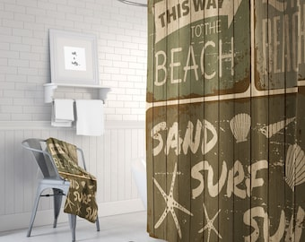 Vintage Brown Beach Shower Curtain Rustic Sign Faux Wood Optional Bath Mat Towels
