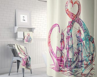 Kraken Shower Curtain Beige Tie Dye Octopus