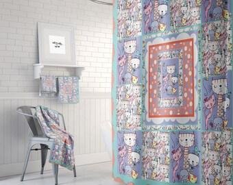 Cat Crazy Shower Curtain Quilt Style Design Optional Bath Mat Towels