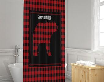 Rustic Shower Curtain Lumberjack Plaid Grumpy Bear Lodge