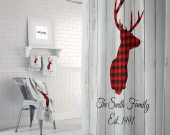 Personalized Shower Curtain Deer And Plaid Rustic Farmhouse