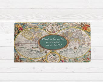World map rug etsy throw rug area rug vintage style old world map center quote not all who wander are lost gumiabroncs Image collections