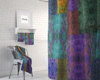 Boho Shower Curtain Optional Bath Mat Bathroom Set Gypsy Batik Design