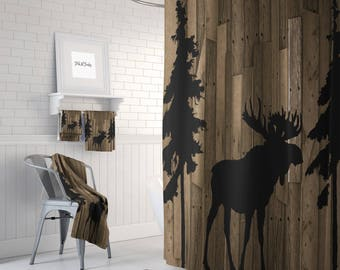 Rustic Woodland Moose Trees Faux Wood Shower Curtain Bath Mat Towels