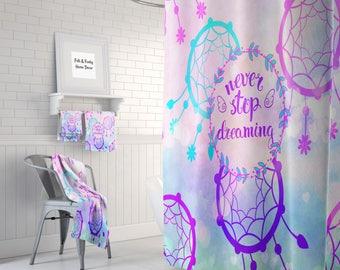 Purple Dreamcatcher Shower Curtain Optional Bath Mat Bathroom