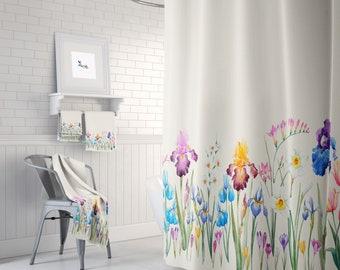 Floral Shower Curtain Towels Bath Mat Boho Decor Iris And Wildflower
