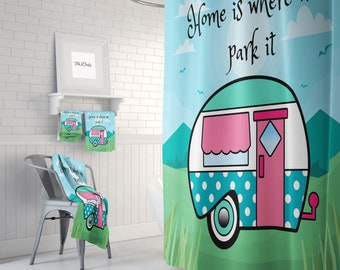 Vintage Camper Shower Curtain Bath Mat And Towels Home Is Where We Park It Custom Size Available