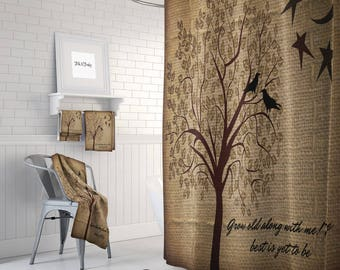Primitive Shower Curtain Bath Mat And Towels Fake Burlap Grow Old Quote Tree Moon Crow Rustic Farmhouse Window Curtains