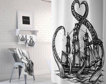 Kraken Shower Curtain Black And White