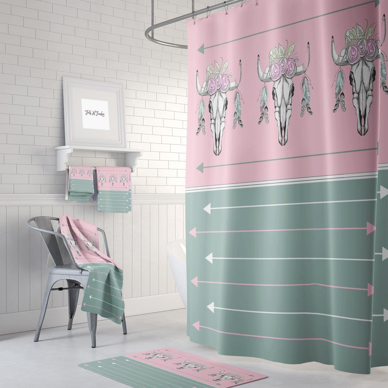 Pink Green Boho Bull Skull Shower Curtain Optional Bath Mat Bath Towels Bathroom Set