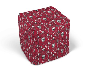 Gothic Skulls Ottoman Cube Footstool , Red and Black, Skull Decor