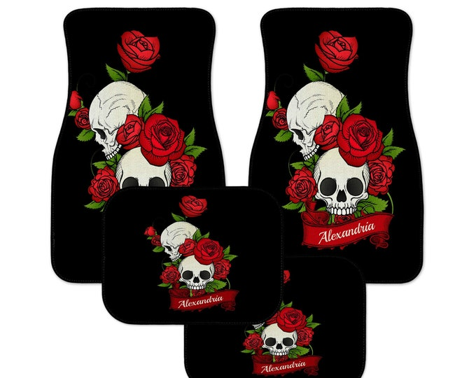 Personalized Car Mats, Skull and Roses