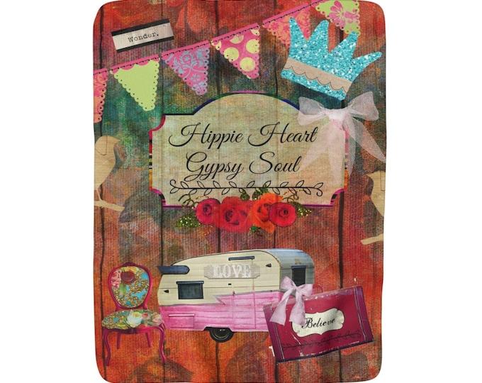 Hippie Heart, Gypsy Soul, Sherpa Fleece Blanket, Vintage Inspired, Old Camper